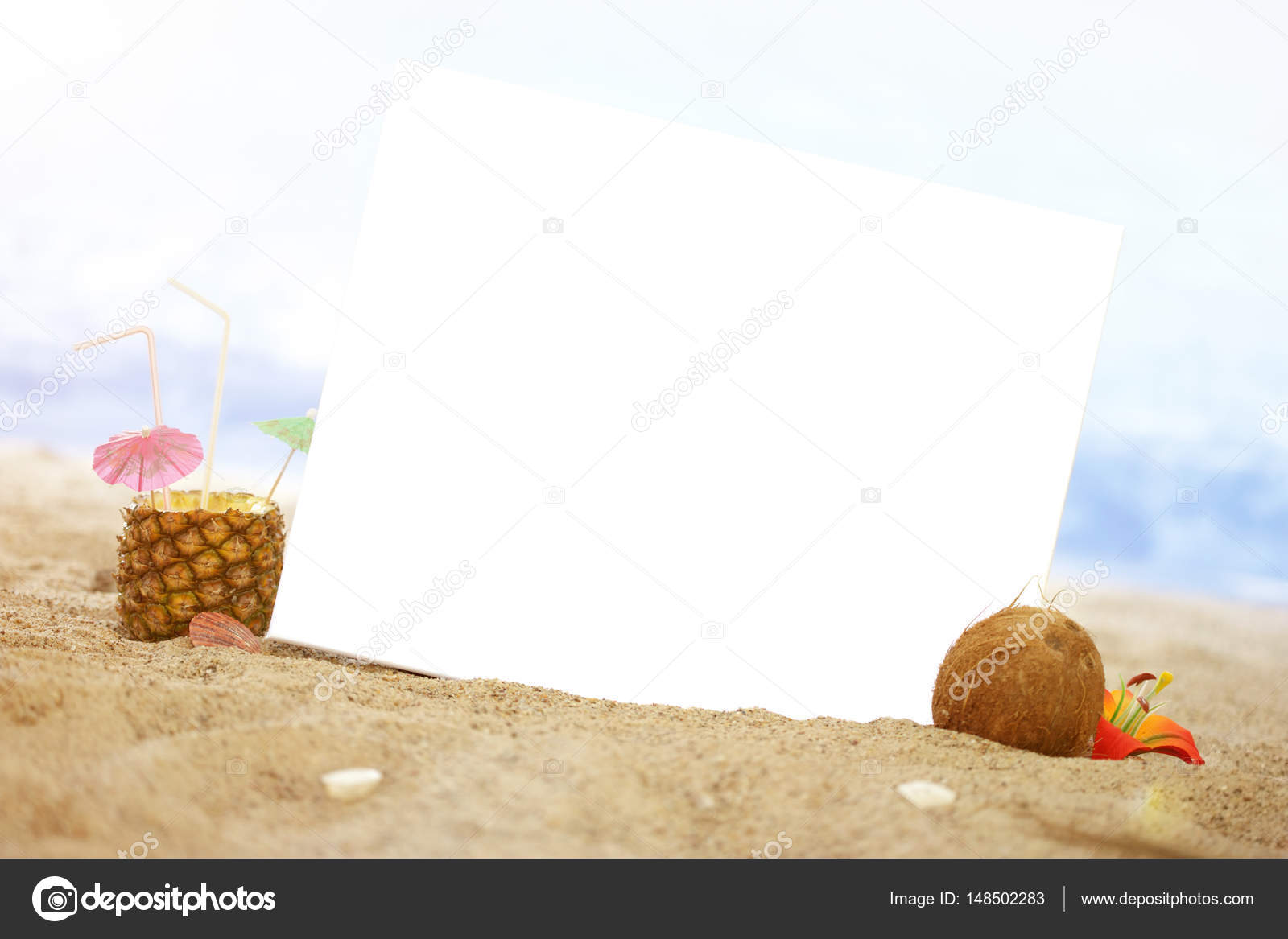 7f080ec4 Summer Still Lifes on the Beach, sunny Luxury and Cocktails: Blank Card  with Copy