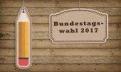 Photo Bundestagswahl series for 2017 German Election. On wooden background. Reading Bundestagswahl: Federal Parliament Elections