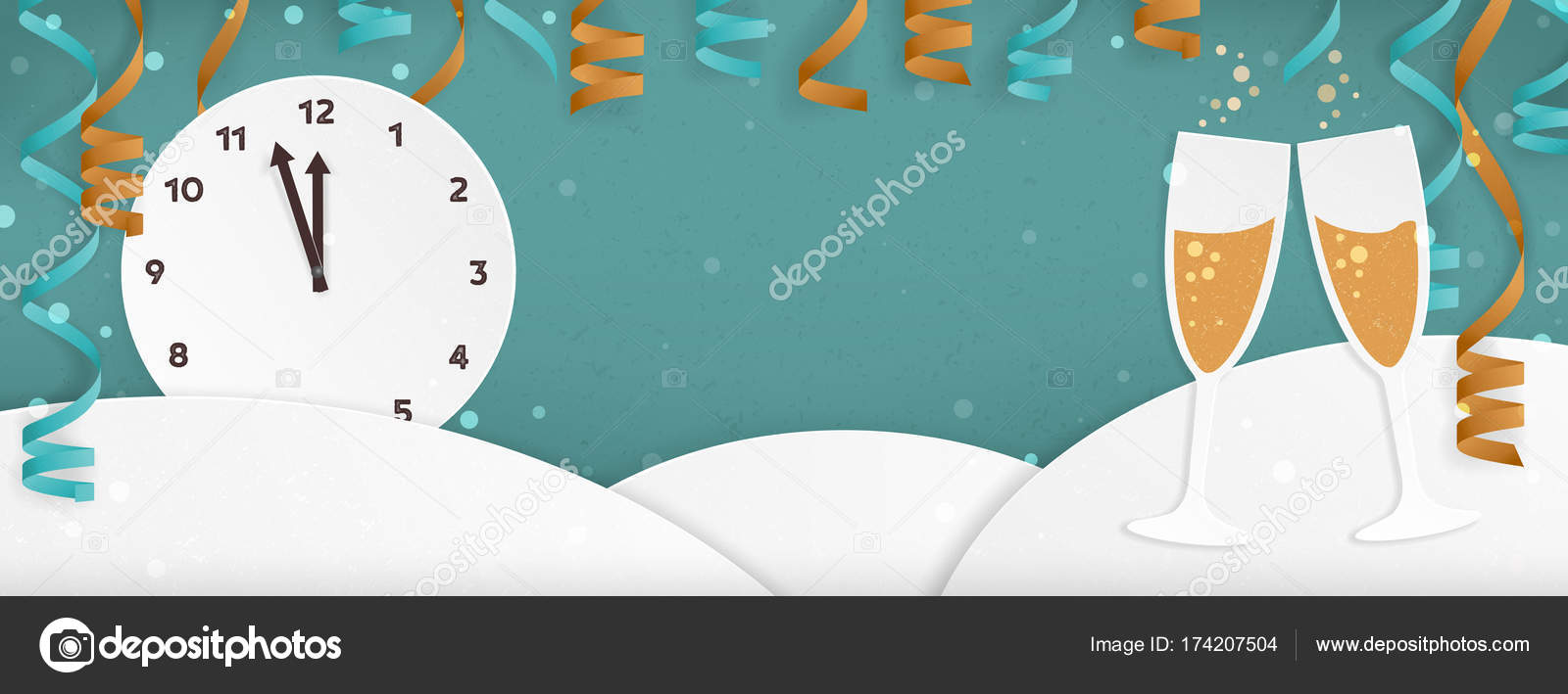 new year themed minimal winter landscape banner with clock champagne glasses party streamers