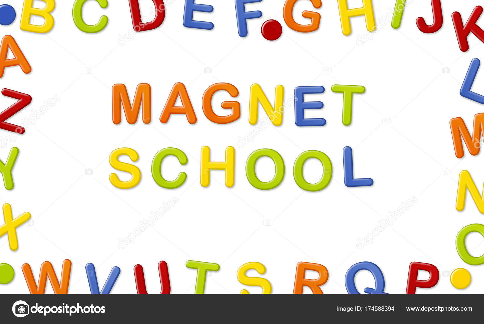 educational systems made out of fridge magnet letters isolated on white background magnet school