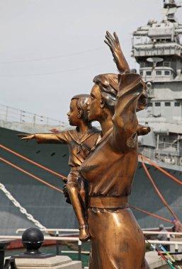 Sculpture of wife of sailor at Lazar Serebryakov embankment in Novorossiysk. Krasnodar region. Russia