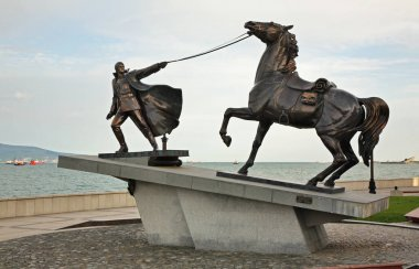 Monument to Exodus of White Army at Lazar Serebryakov embankment in Novorossiysk. Krasnodar region. Russia