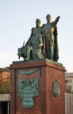 Monument to Raevsky, Lazarev and Serebryakov at Lazar Serebryakov embankment in Novorossiysk. Krasnodar region. Russia