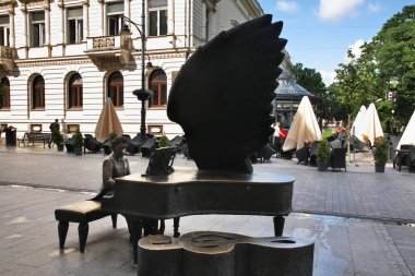 Monument to Arthur Rubinstein at Piotrkowska street in Lodz. Poland