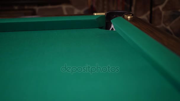 Ball Rolling On A Billiards Table And Missing A Pocket Stock Video - Rolling pool table