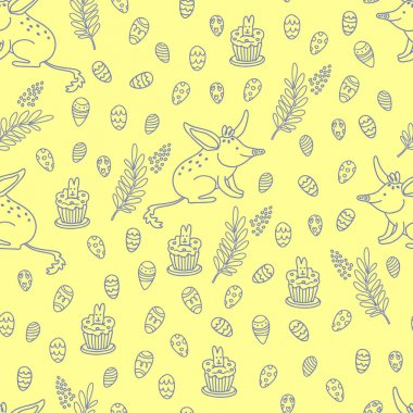Vector seamless pattern with Easter bilby, eggs, golden wattle and cupcakes. Great print for fabric, wrapping papers, wallpapers, cover. Illustration in doodle style, purple on yellow background.
