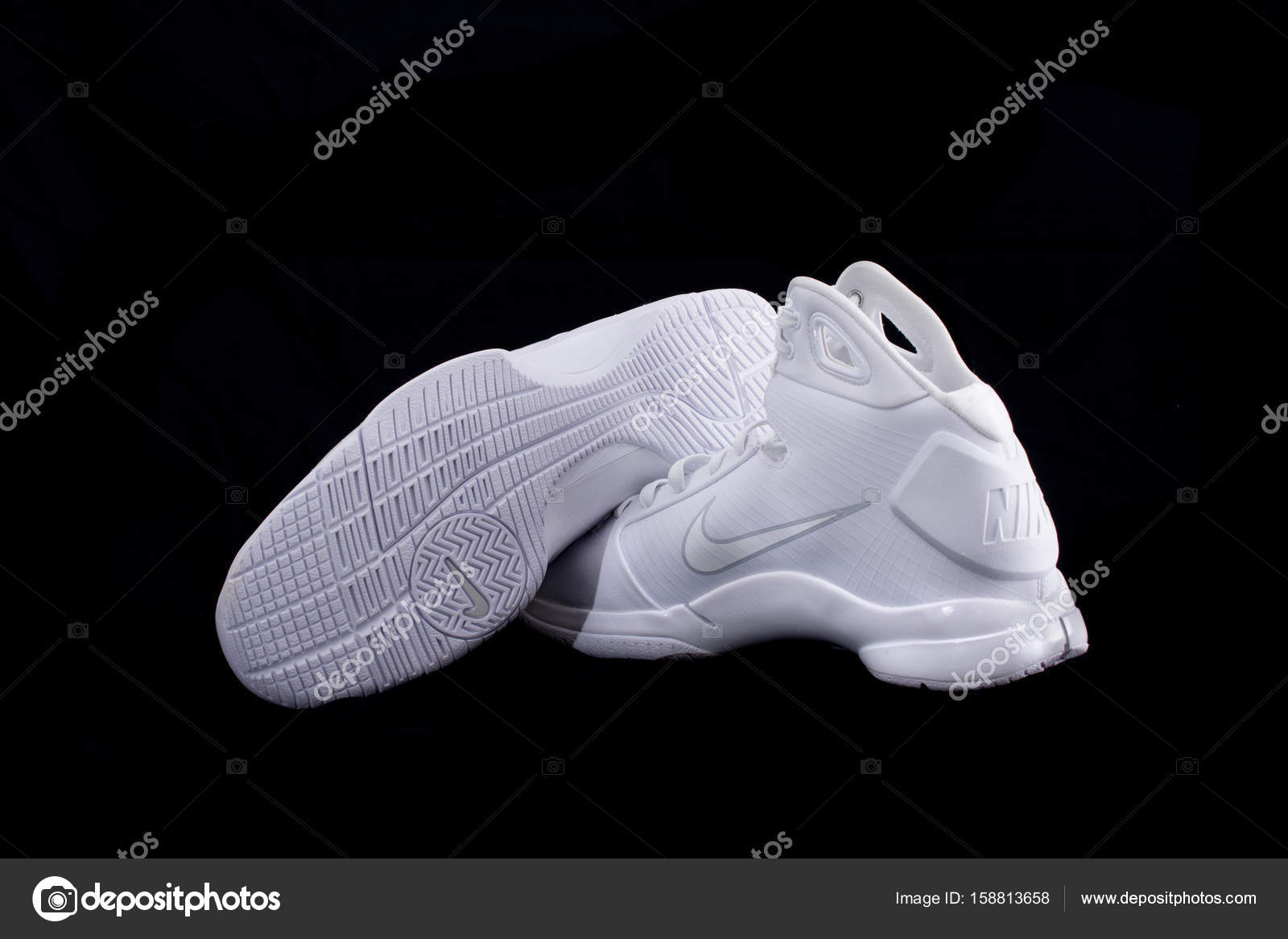 Nike Hyperdunk White High Top Basketball Shoes Sneakers Stock Photo