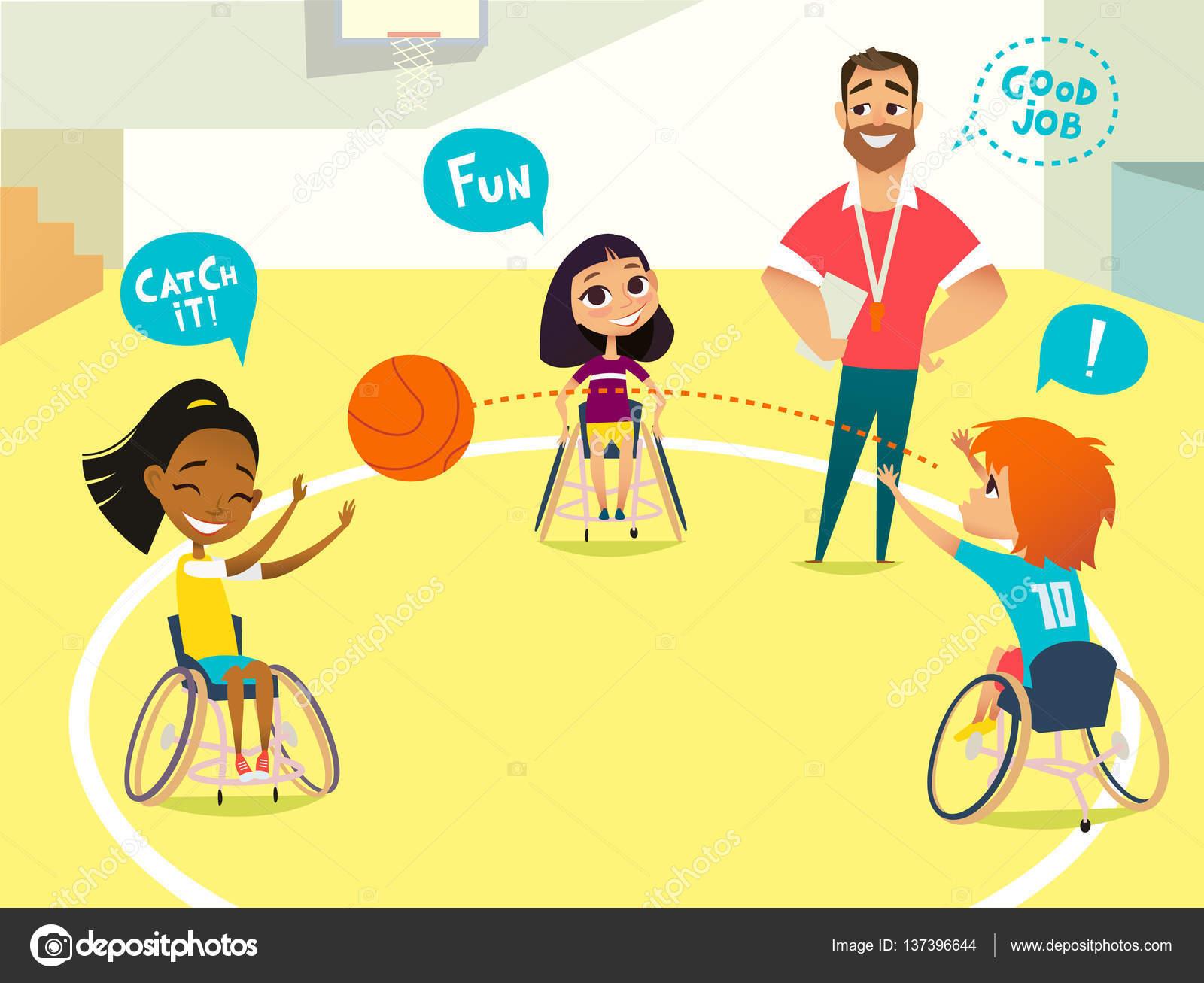 Niños Con Discapacidad En Silla De Ruedas Jugando Al