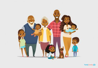 Big happy family portrait. Three generations - grandparents, parents and children of different age together. Smiling cartoon characters. Vector illustration for poster, greeting card, website, ad