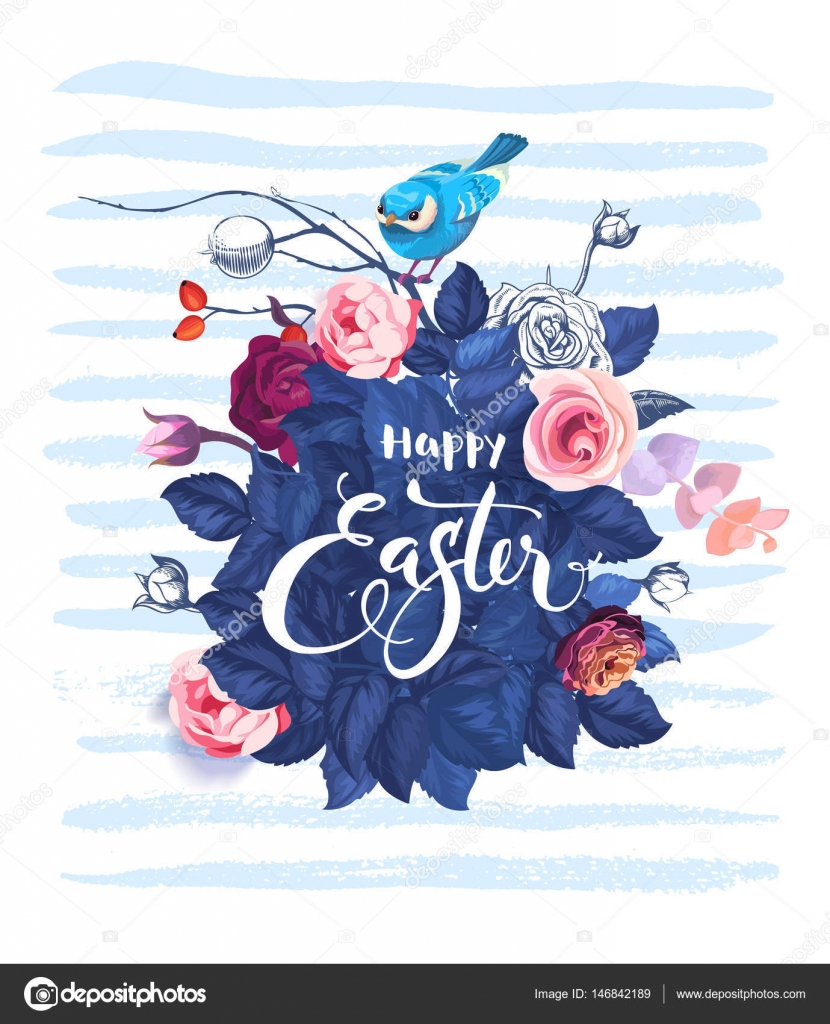 Happy Easter hand written text against bush of rose flowers, blue bird sitting on top of ...