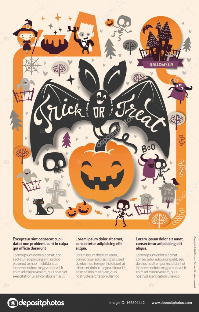 Agr ables vacances happy halloween flyer mod le avec bat - Image halloween drole ...