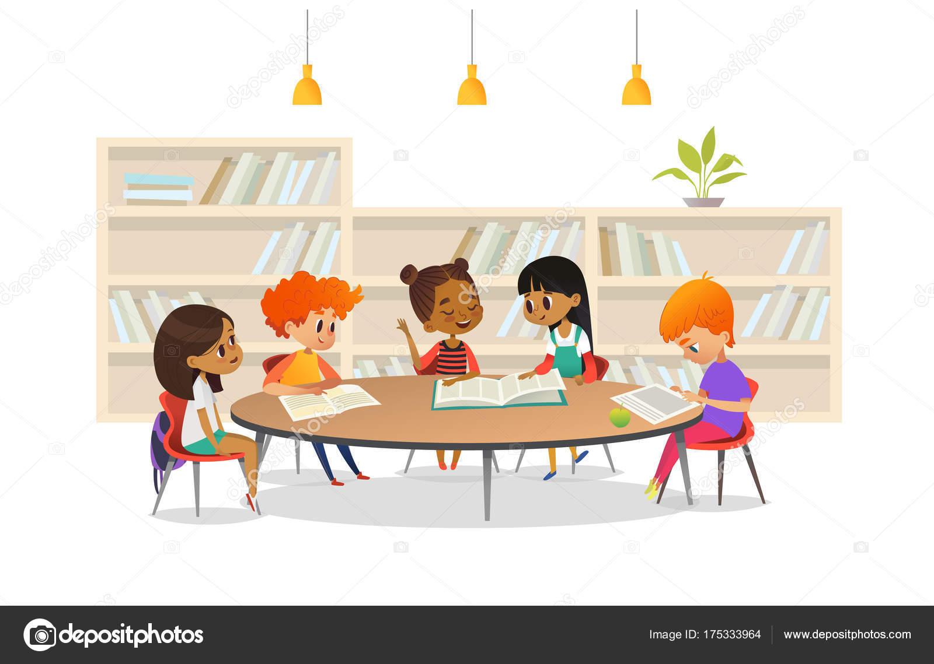 Grupo De Niños Sentados A La Mesa En La Biblioteca De La