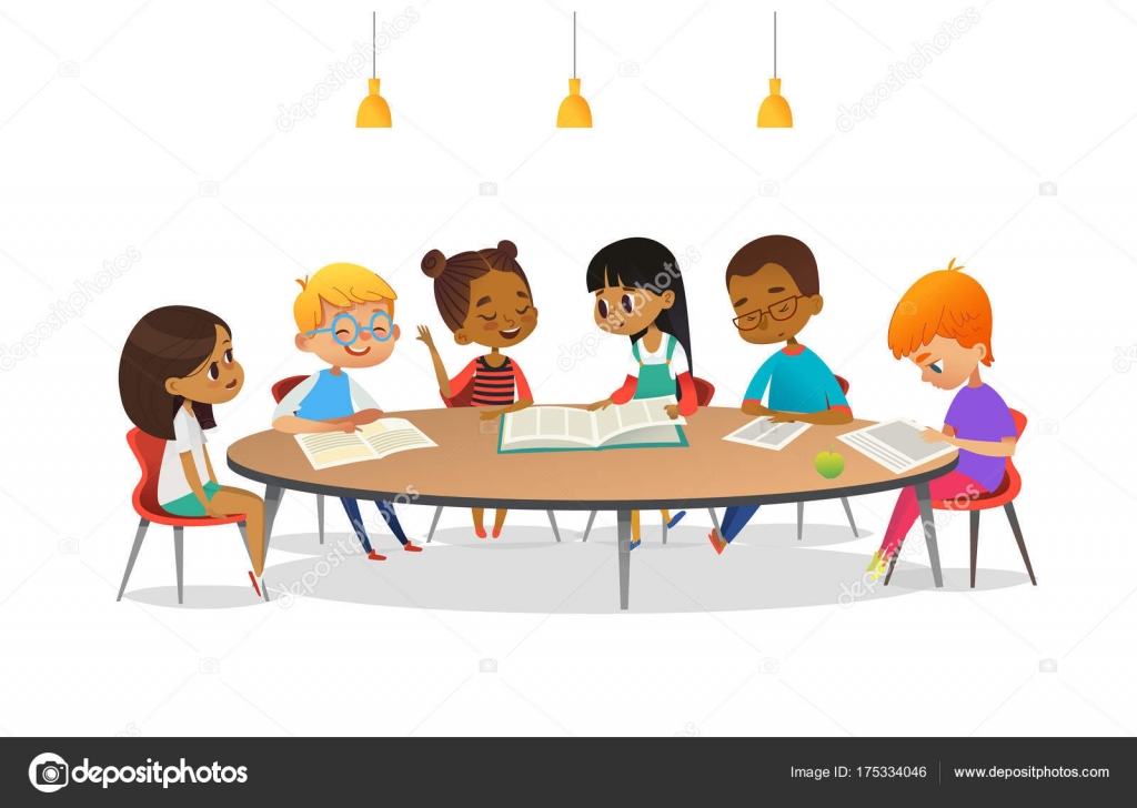 Meninos e meninas sentados ao redor da mesa redonda for Mesas para estudiar