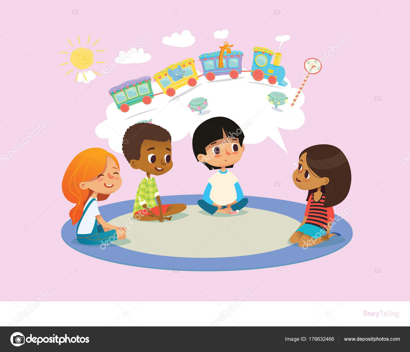 girl telling fairy tale to other children sitting on round carpet