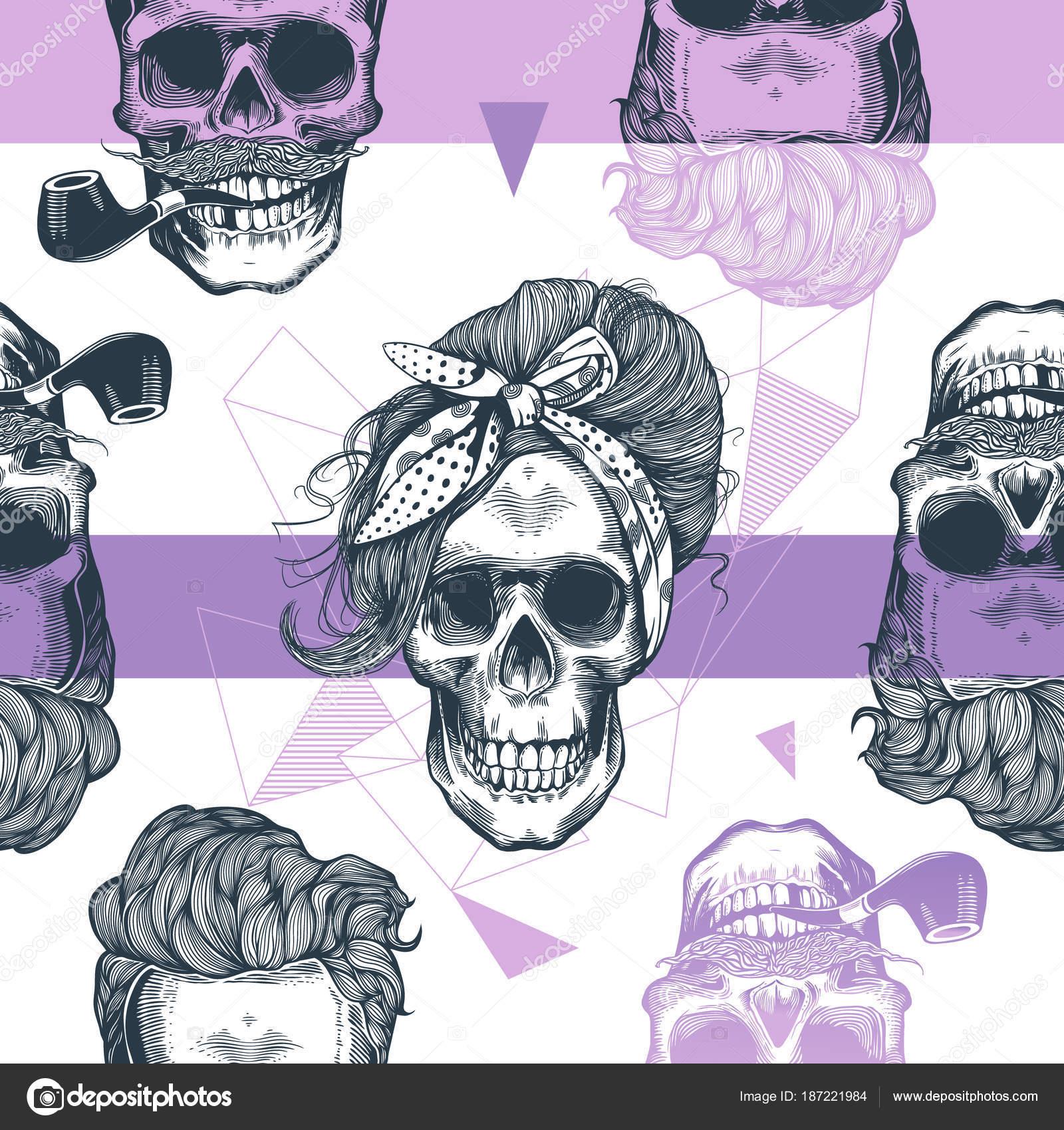 De patrones sin fisuras en estilo pop art con cabezas de esqueleto ...