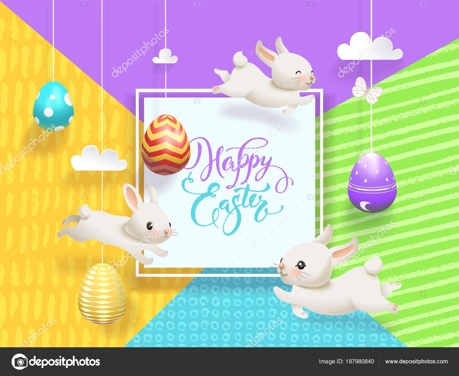 Glücklich Ostern Verkauf Karte dekoriert Eiern hängen Saiten ...