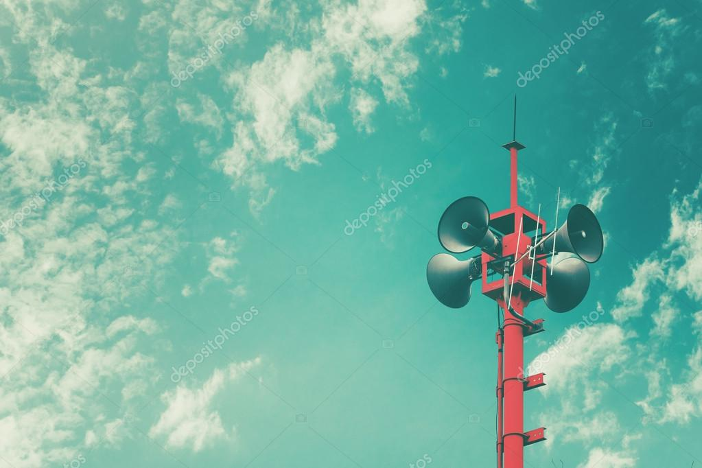 Horn speaker for public relations sign symbol, vintage color