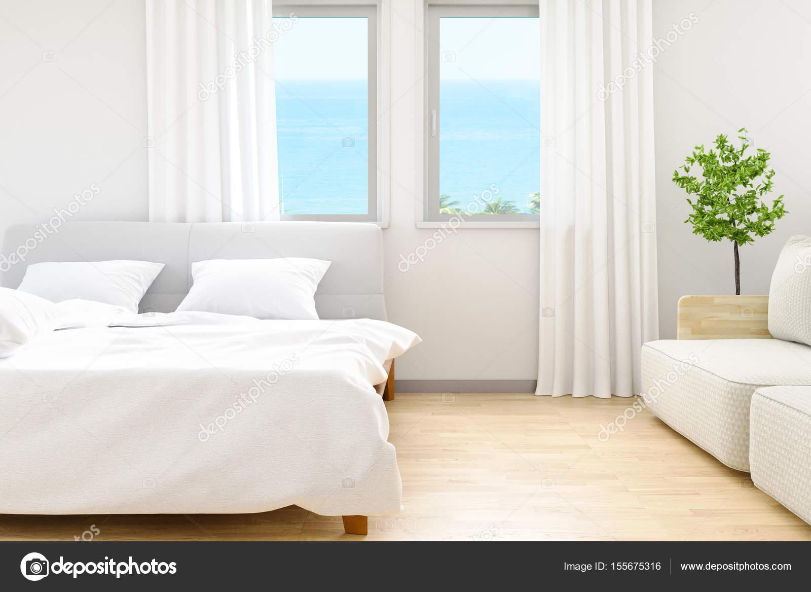 Moderne Witte Slaapkamer : De moderne witte slaapkamer lakens en kussens comfort en