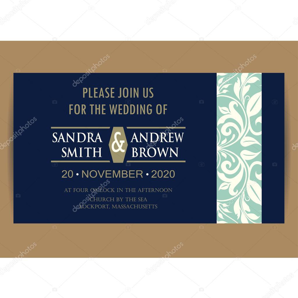 Invitaciones Para Boda Azul Marino Tarjeta De Invitación