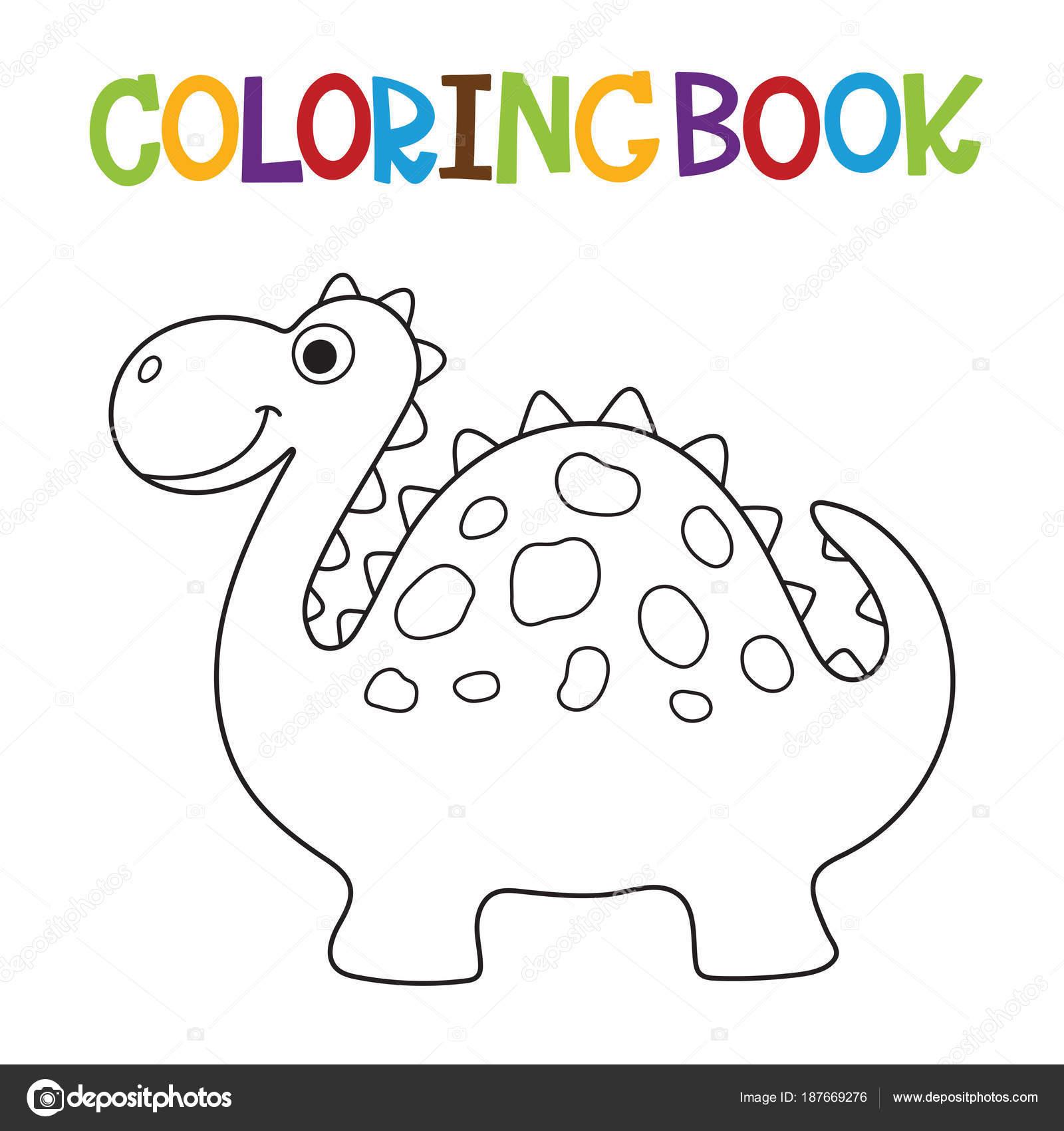 Libro para colorear de dino lindo — Archivo Imágenes Vectoriales ...
