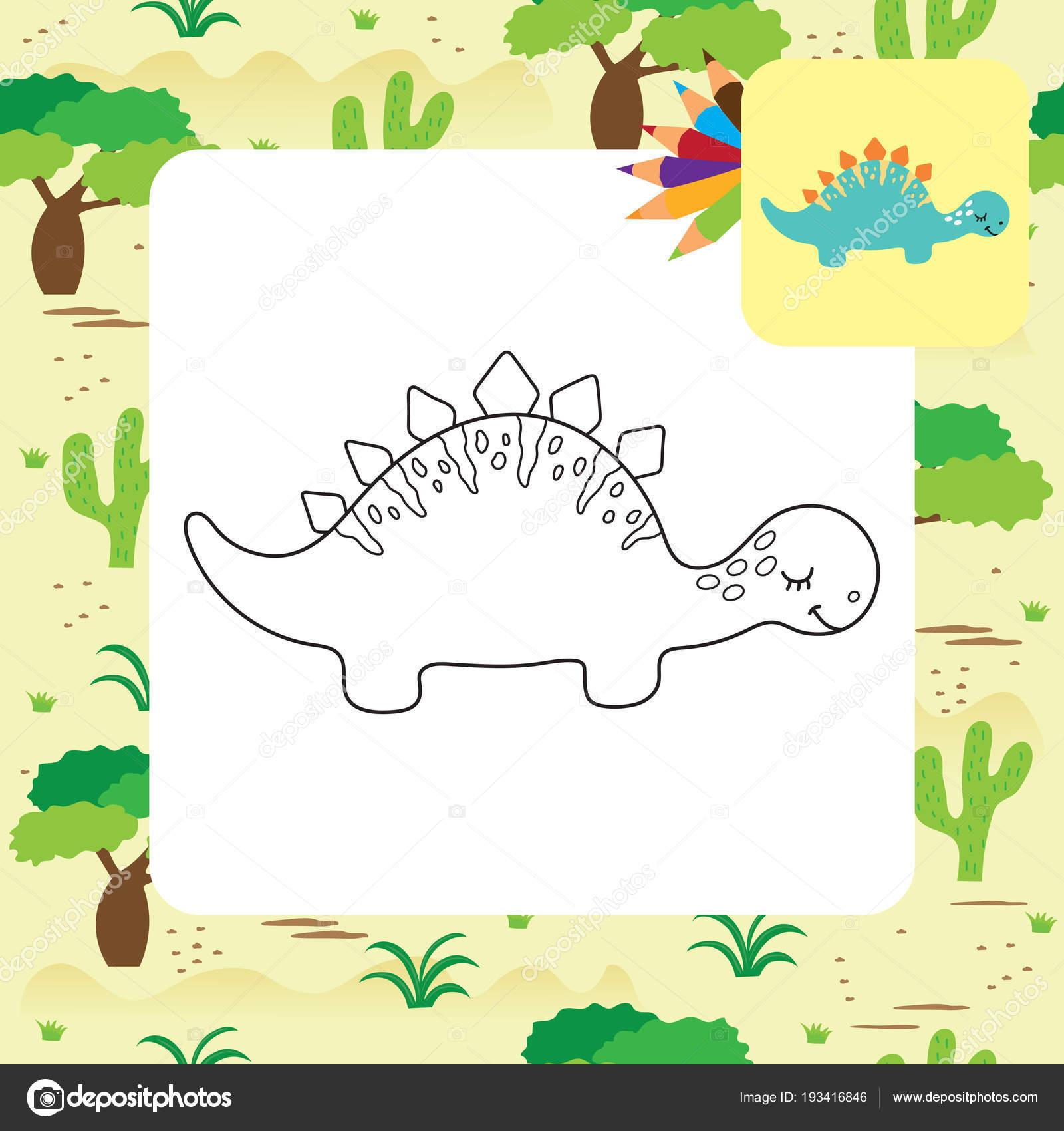 Niedlichen Cartoon Dino Malvorlagen — Stockvektor © ARNICA83 #193416846