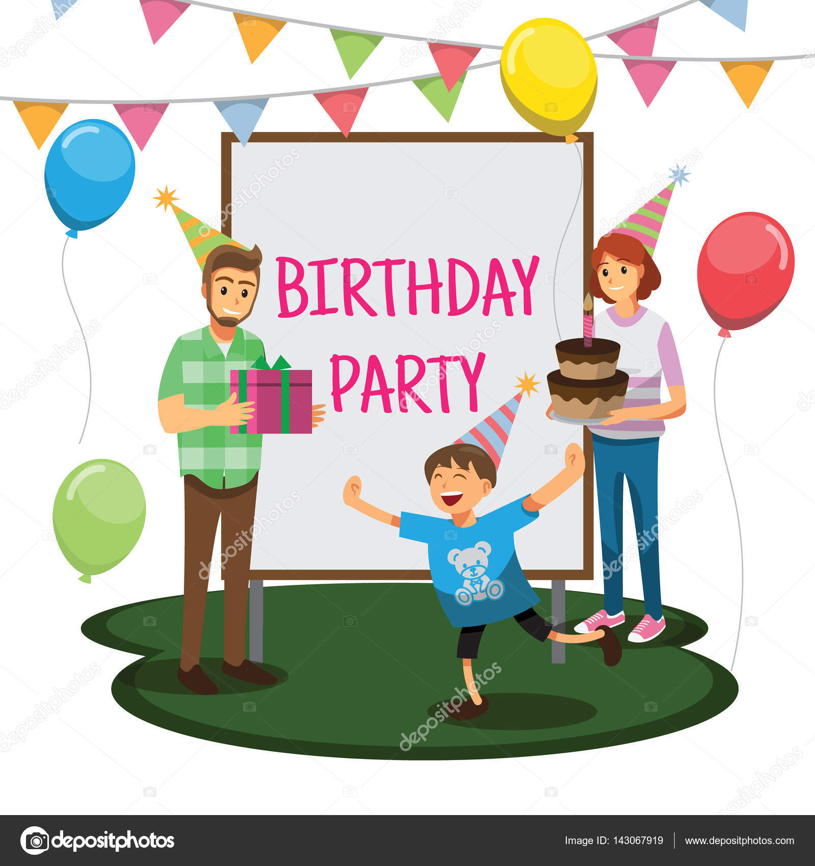Happy Birthday Party Cartoons Charakter Familie Stockillustration