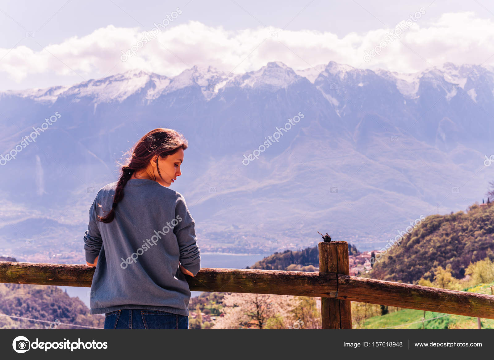 Outdoor lifestyle image portrait of pretty woman posing at amazing