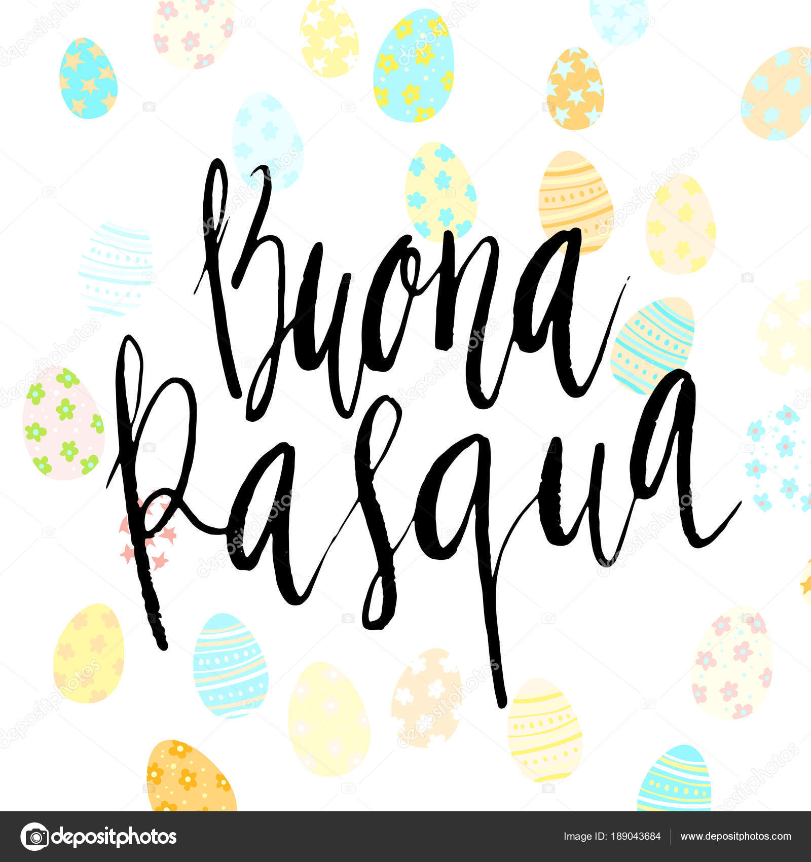 Happy Easter Buona Pasqua In Italian Hand Written Brush Lettering