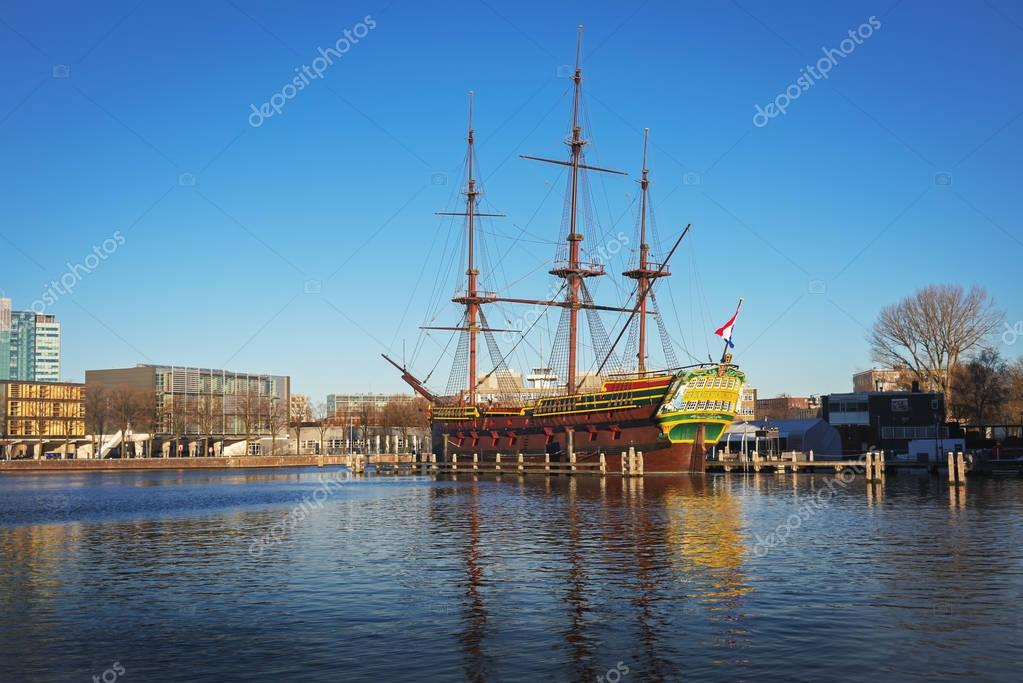 The ship replica  in front of the National Maritime Museum in Amsterdam, The Netherlands