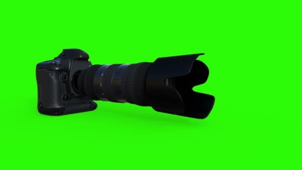 Fotoausrüstung, Kamera mit Objektiv, Animation, grünes Telefon