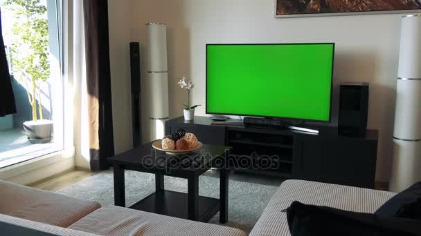 A TV With A Green Screen In A Cozy Living Roomu2013 Stock Footage