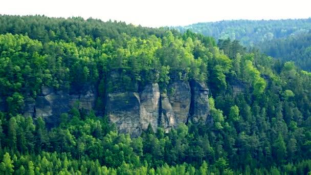 Zvlněné lesnaté oblasti a jasná obloha