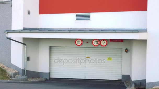 entrance to the garage in housing estate