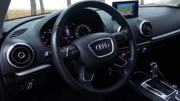 The modern interior of a luxurious car