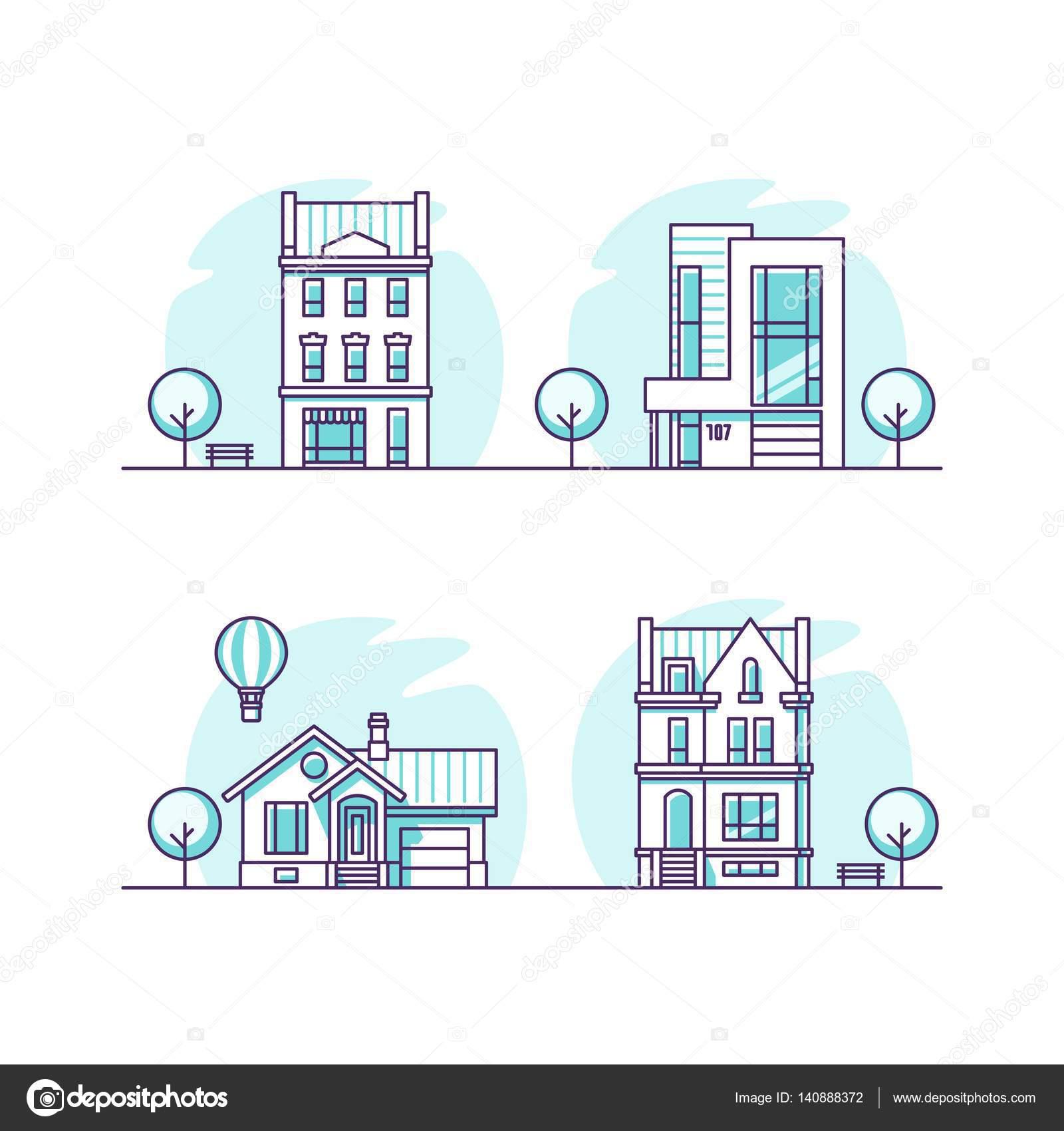 Traditionelle und moderne Häuser. Für Web-Design und Anwendung ...