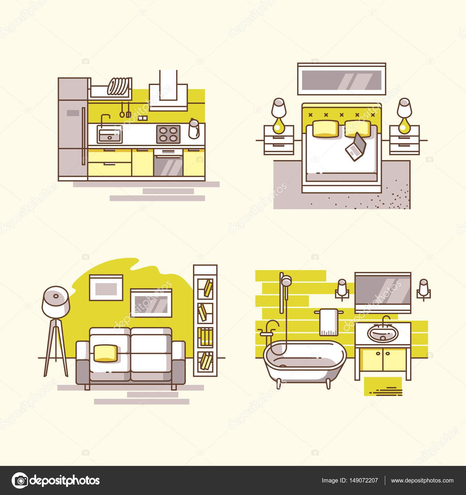 Apartamento interior interior casa moderna detallada for Casa moderna vector