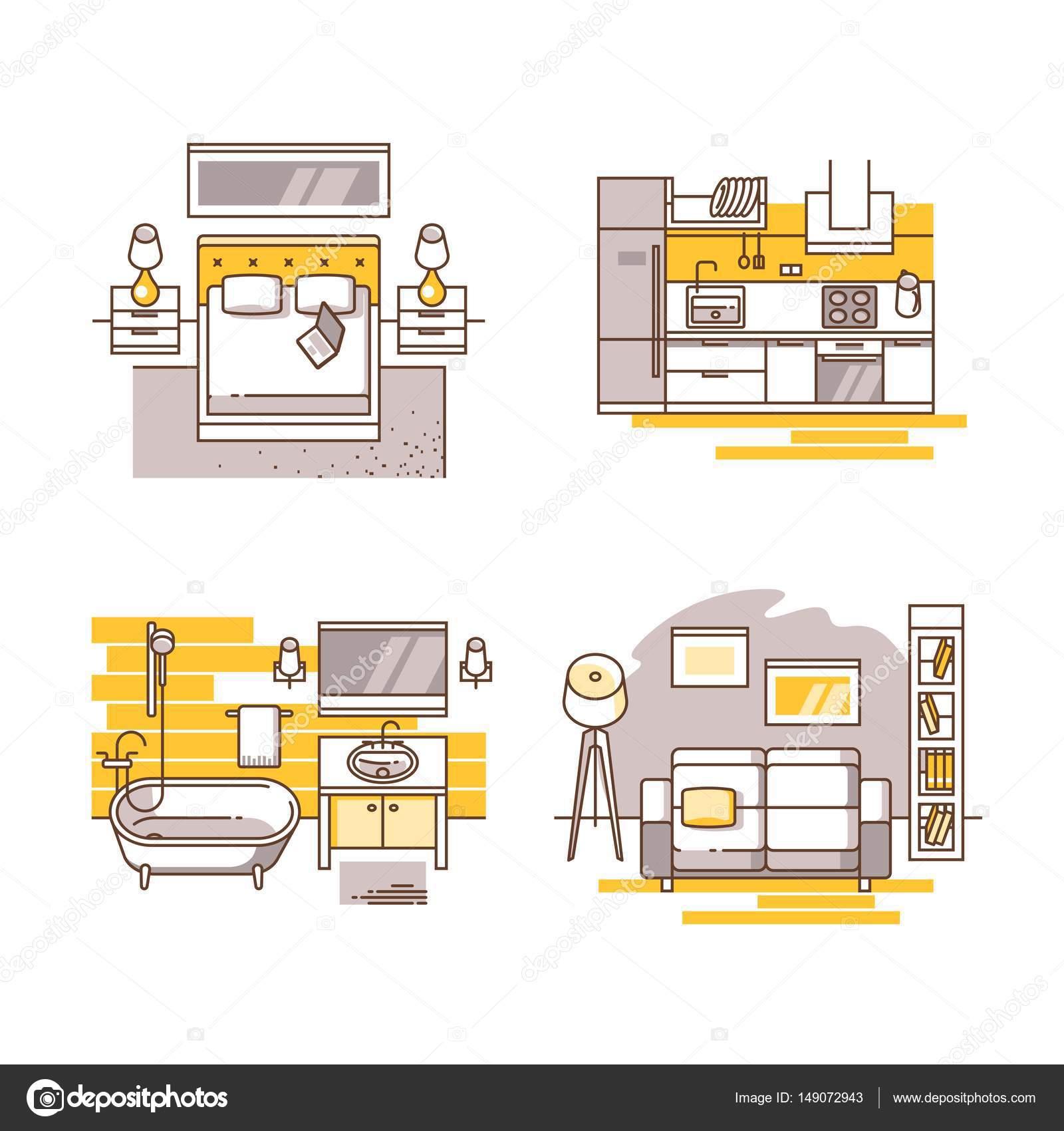 Juego de sala de dise o de interiores sala de estar dormitorio cocina y ba o ilustraci n de - Juego de diseno de interiores ...