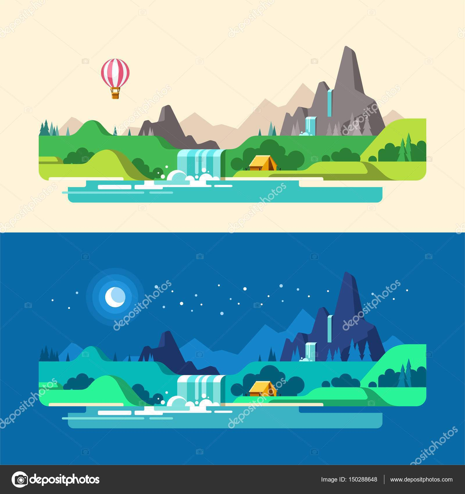 Landscape Design In A Day: Summer Landscape, Day And Night. Hiking And Camping