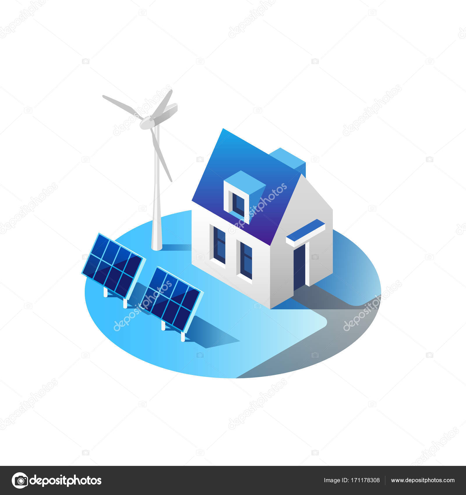 Green Energy And Eco Friendly Modern House Solar Panels Wind Generating Electricity Turbine