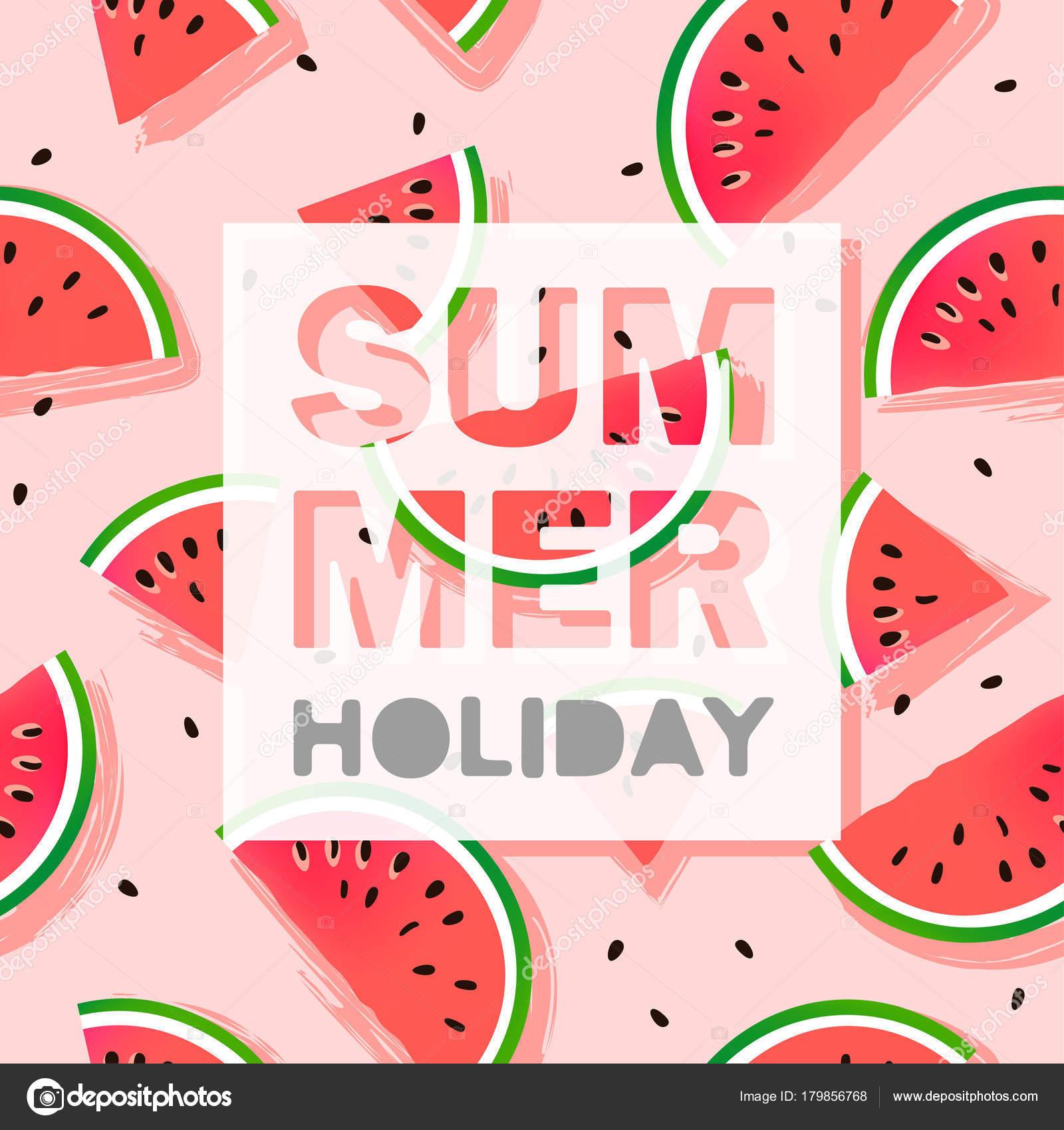 Sommer Urlaub Konzept Nahtlose Wassermelonen Muster Mit Text Vektor ...