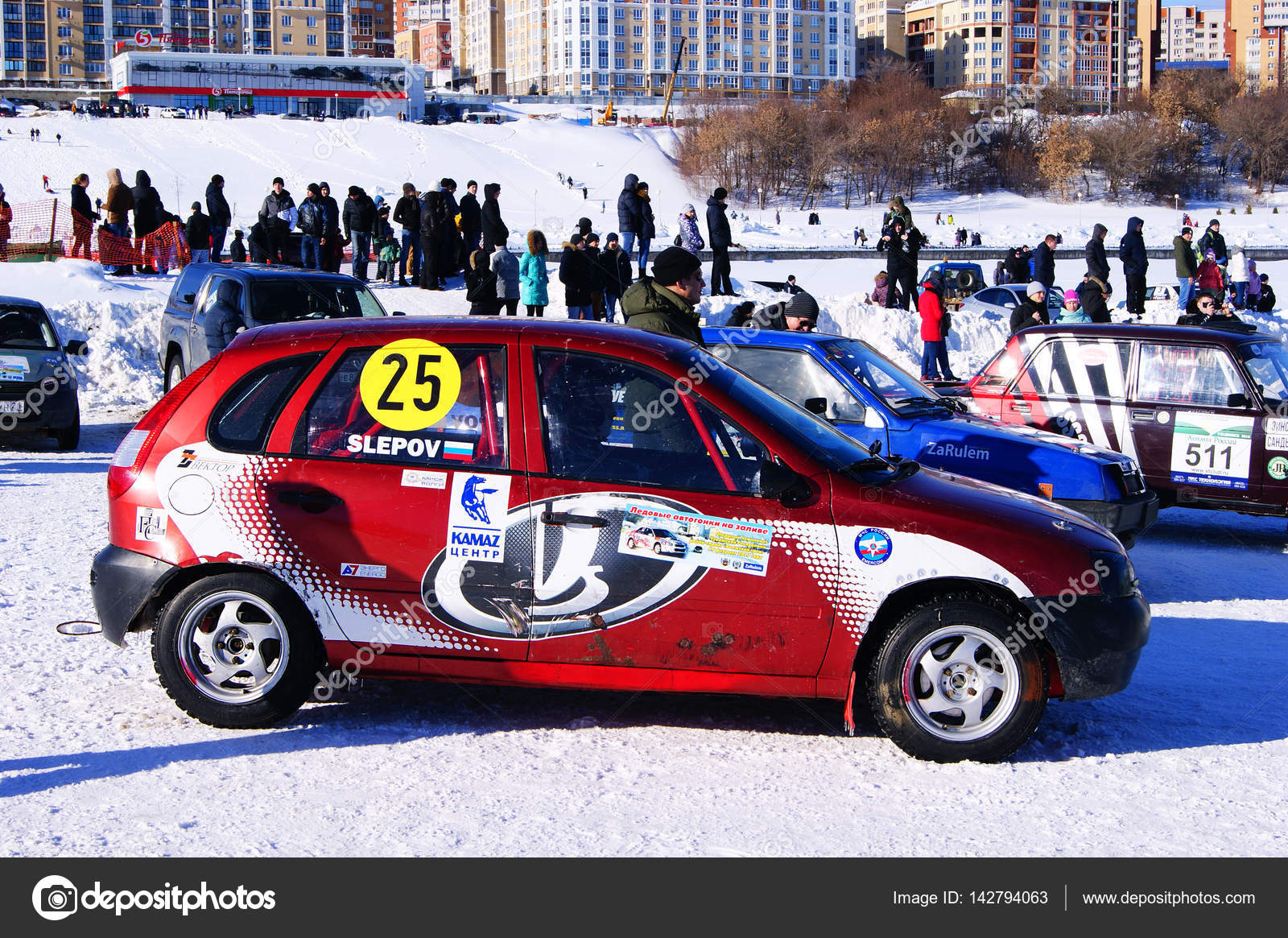 Sports Car Race On, The Ice, The Volga, Song, 2017, Cheboksary