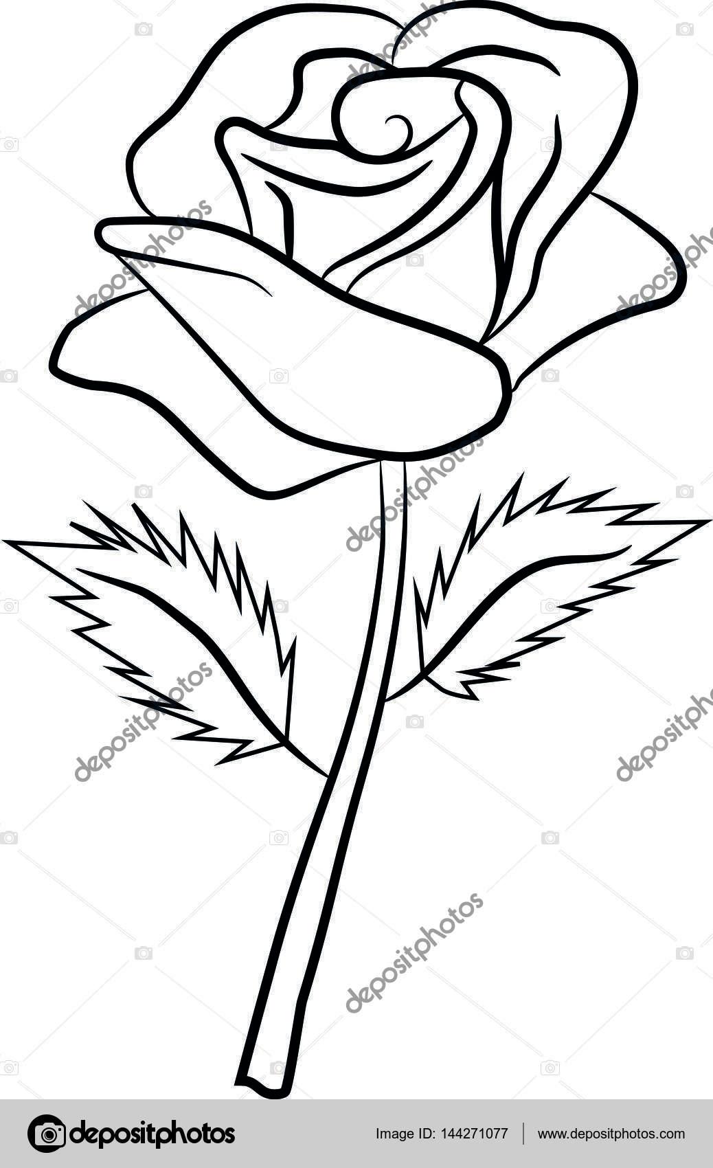 rose blume muster bl tenbl tter bl tter zeichnen malen stockvektor serega1104 144271077. Black Bedroom Furniture Sets. Home Design Ideas