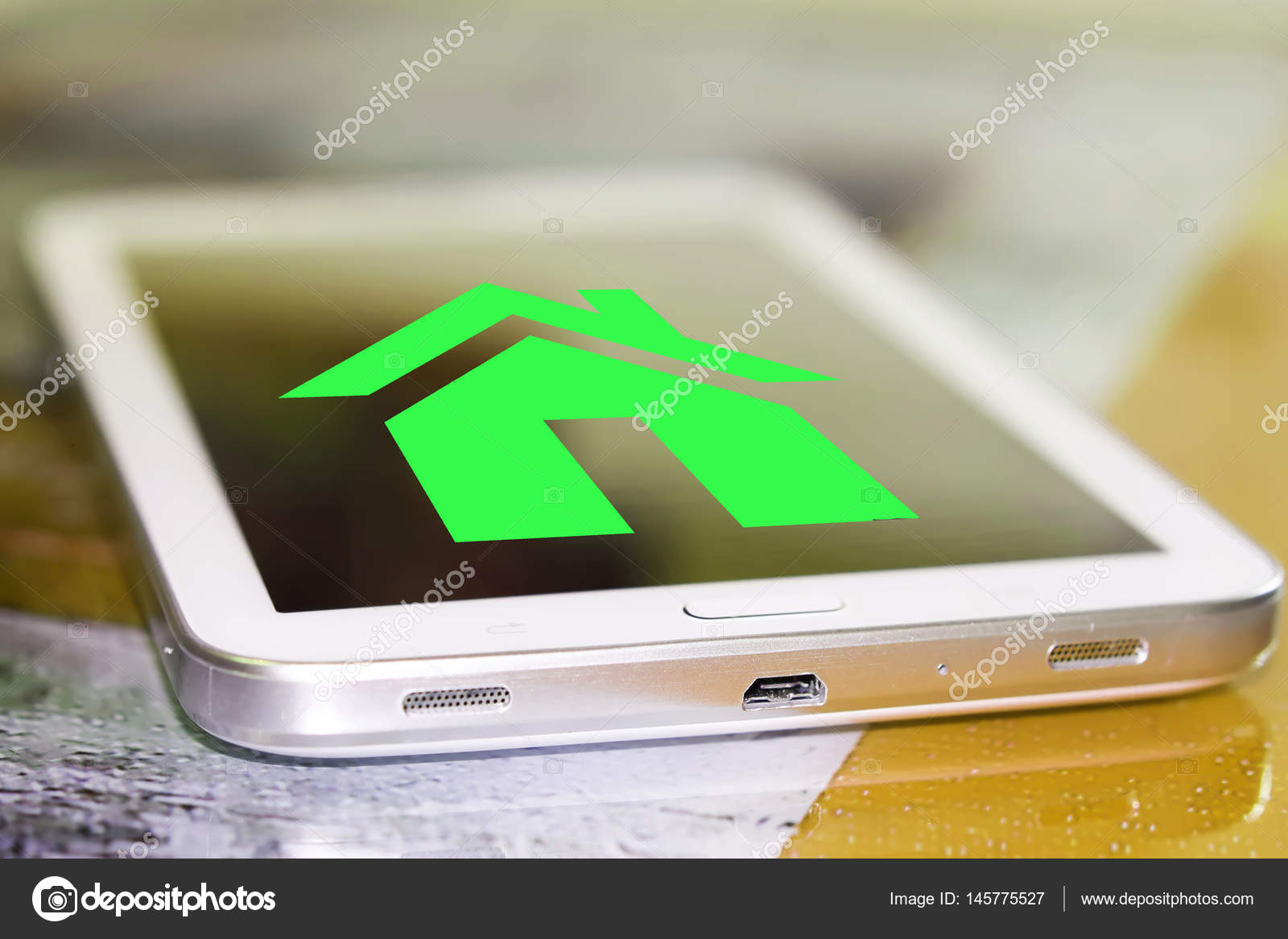 Real Estate Symbol On The Cell Phone Screen Stock Photo