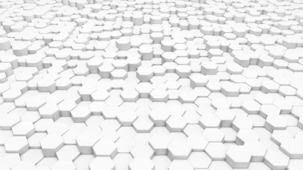 3D-Rendering-Sechseck mit weißem Gittermuster Technologie Hintergrundschleife