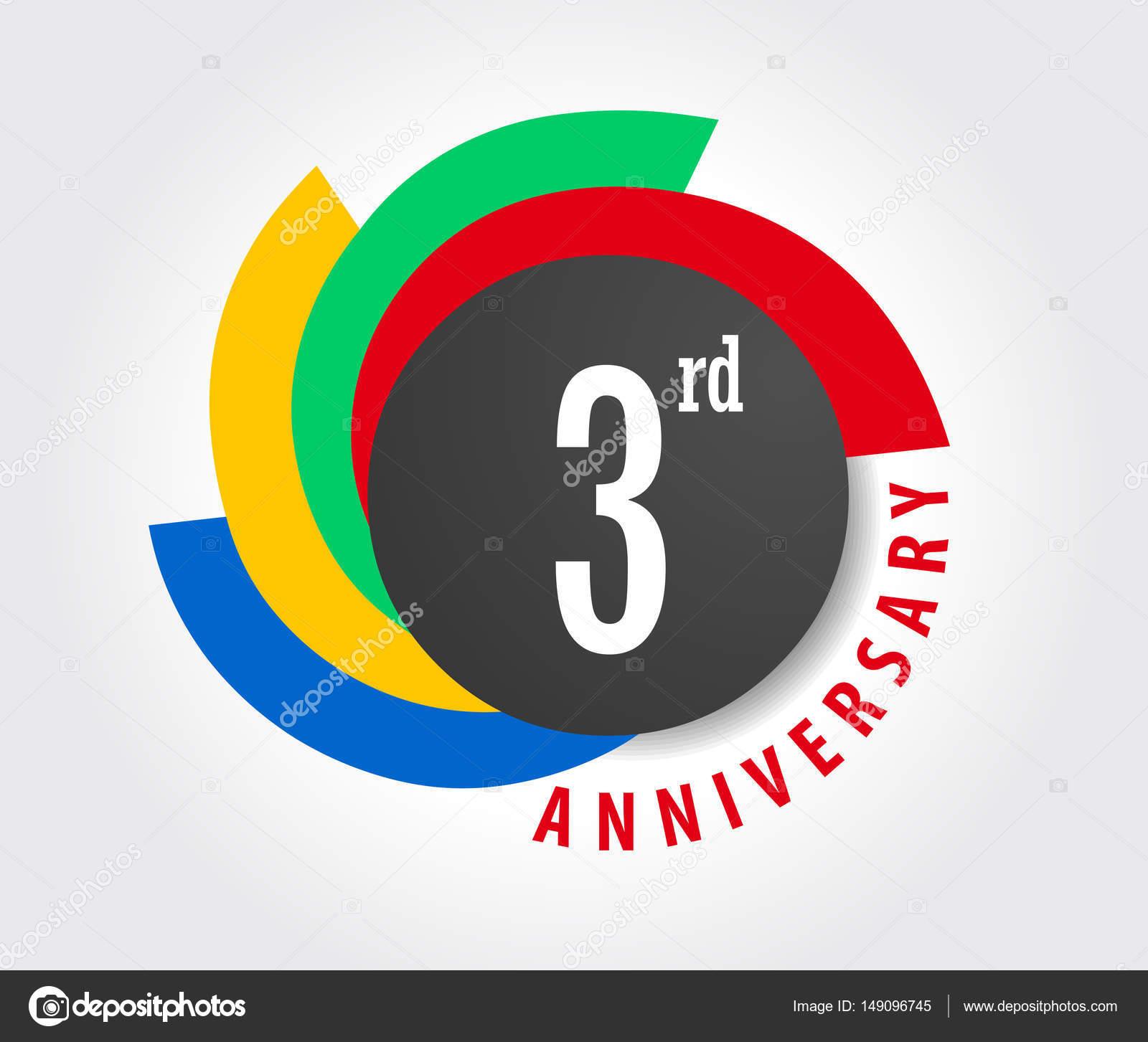 3 Year Birthday Celebration Flat Color 3rd Anniversary