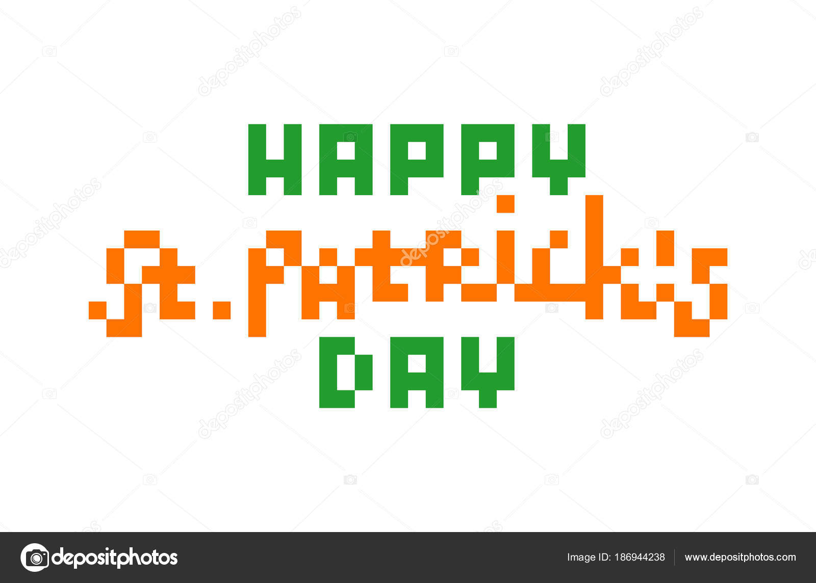 Heureuse Saint Patrick Day Pixel Art Félicitation Texte