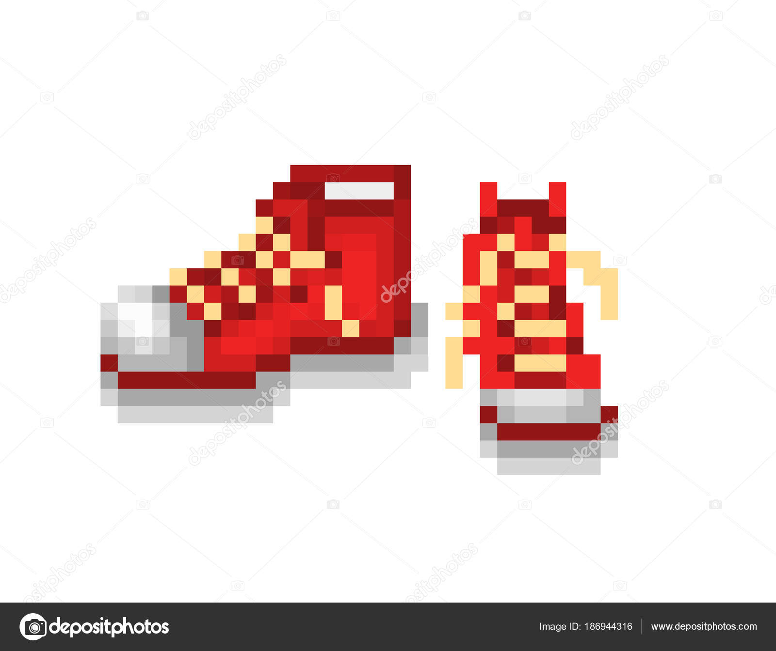 A Pair Of New Red Sneakers Pixel Art Illustration Isolated