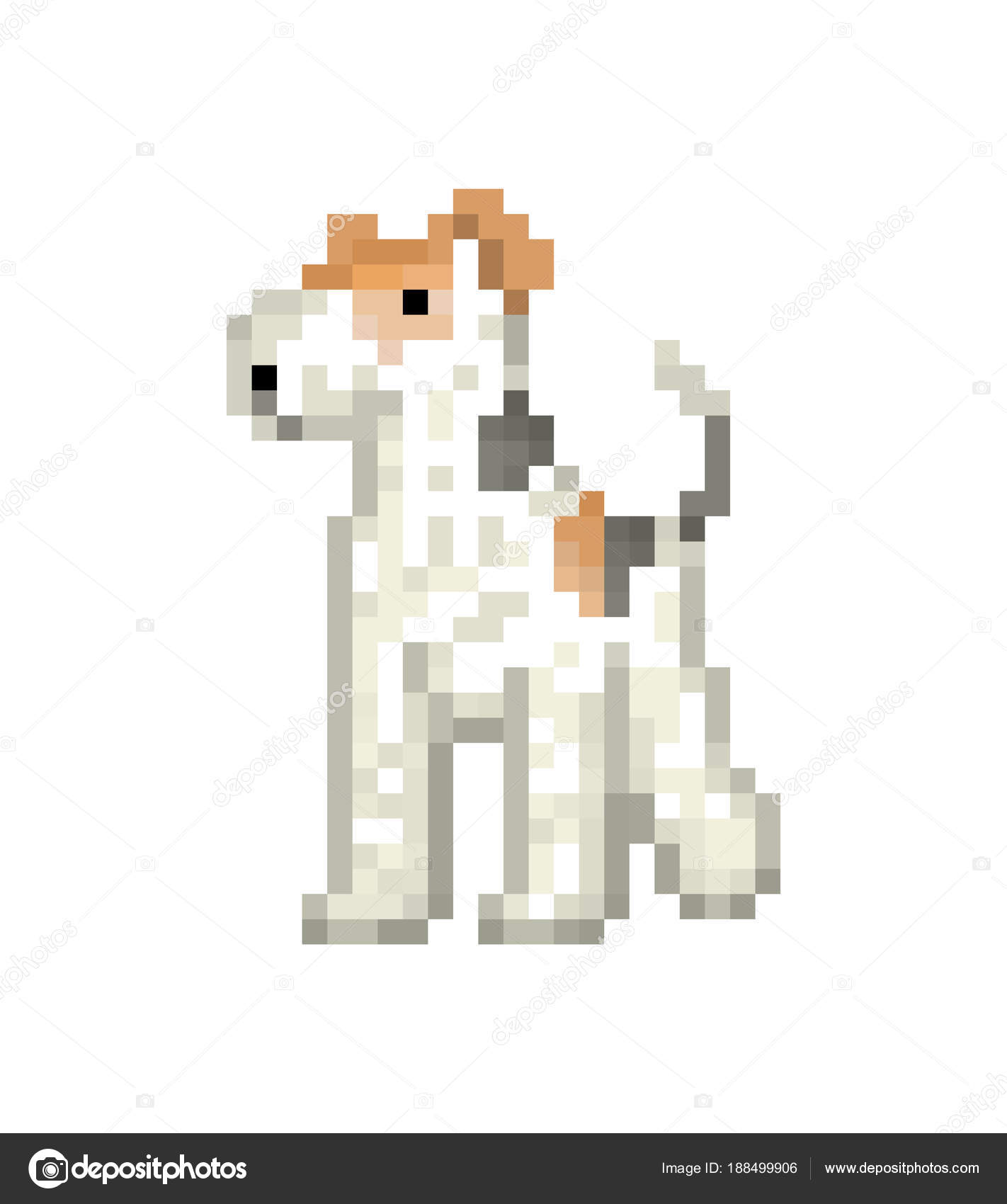 White wire fox terrier, pixel art character isolated on white ba ...