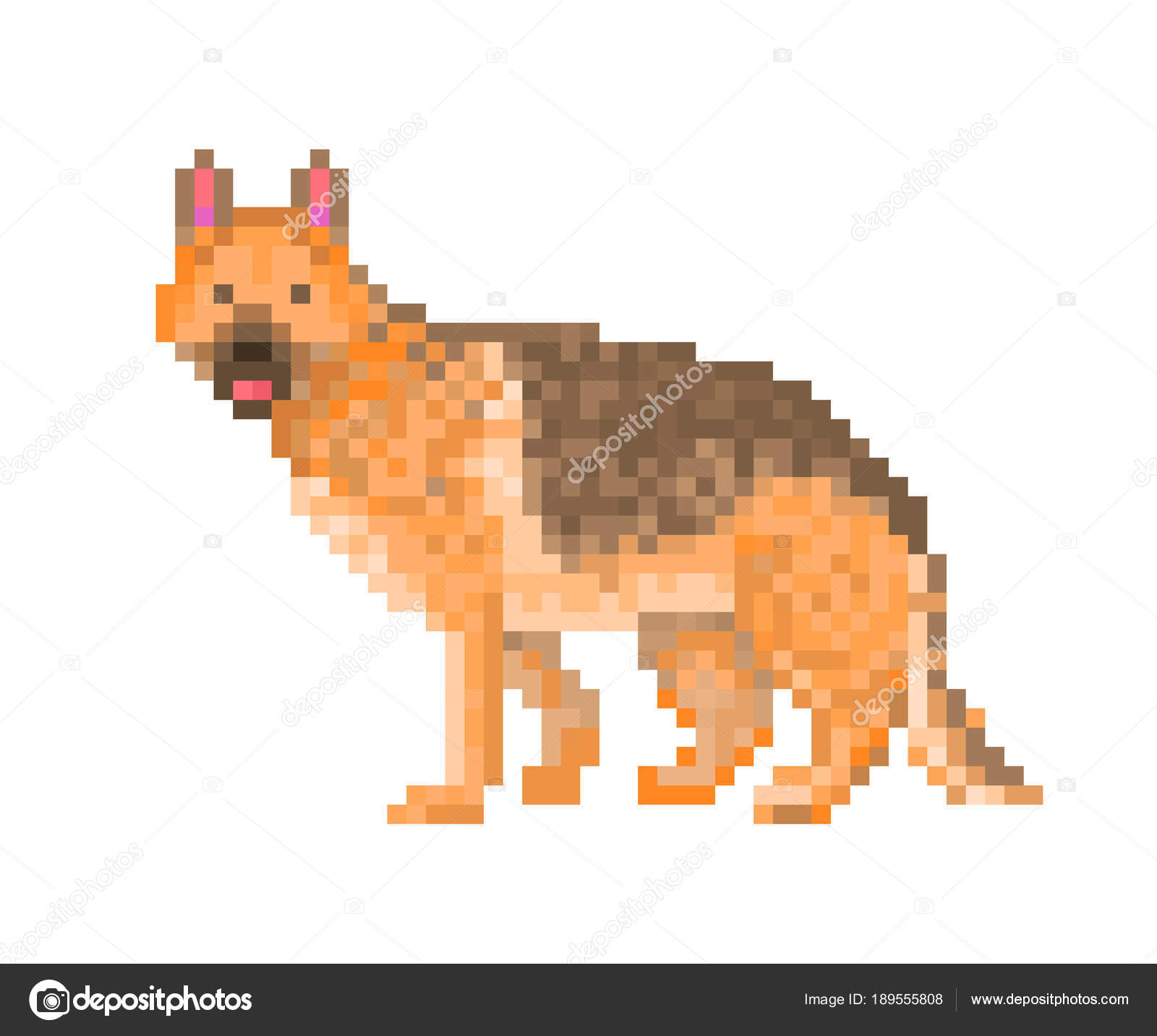 Purebred German Shepherd Dog Pixel Art Character Isolated On Wh