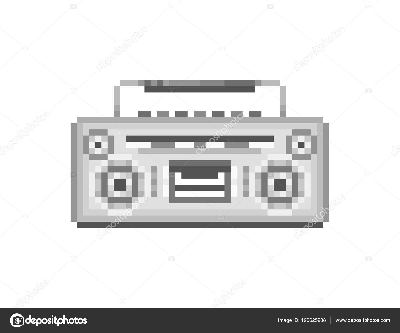 Retro Silver Boombox Bit Pixel Art Icon Isolated White Background